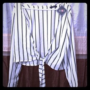 Black and White striped Blouse with Long Sleeves